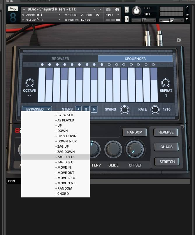 8Dio Shepard Tones Sequencer Window