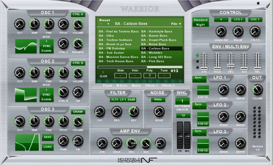 Warrior Free VST Synthesizer GUI